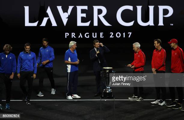 Bjorn Borg Captain of Team Europe and John Mcenroe Captain of Team World lead out the teams during previews ahead of the Laver Cup on September 21...