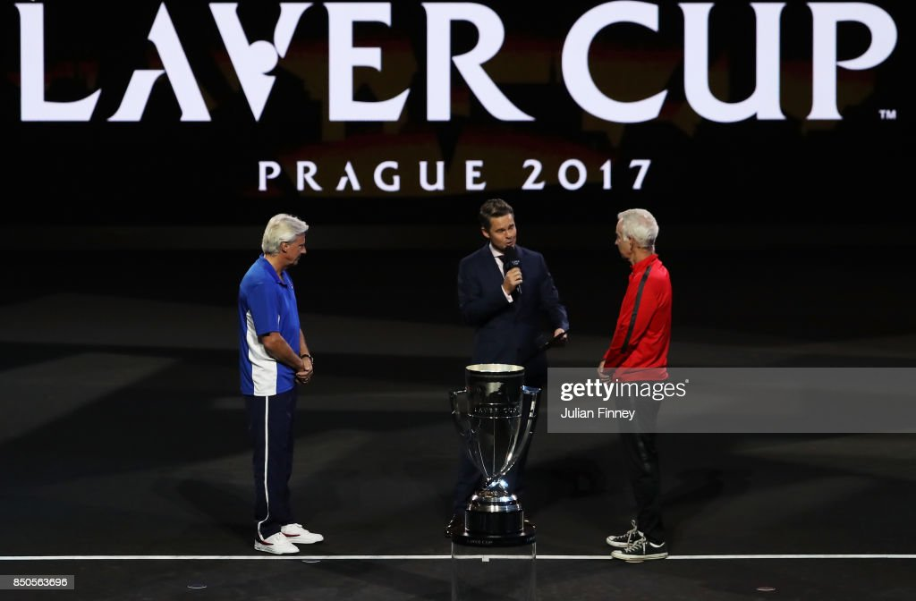 Bjorn Borg, Captain of Team Europe and John Mcenroe, Captain of Team World lead out the teams during previews ahead of the Laver Cup on September 21, 2017 in Prague, Czech Republic. The Laver Cup consists of six European players competing against their counterparts from the rest of the World. Europe will be captained by Bjorn Borg and John McEnroe will captain the Rest of the World team. The event runs from 22-24 September.