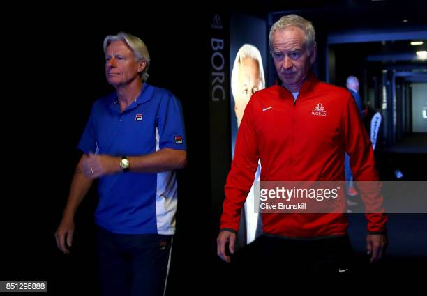 Bjorn Borg Captain of Team Europe and John Mcenroe Captain of Team World enter the arena for the first day of the Laver Cup on September 22 2017 in...