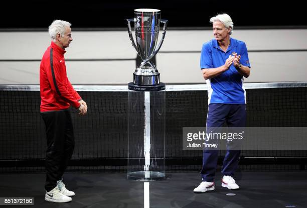 Bjorn Borg Captain of Team Europe and John Mcenroe Captain of Team World stand by the Laver Cup as they enter the arena on the first day of the Laver...