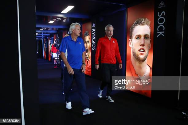 Bjorn Borg Captain of Team Europe and John Mcenroe Captain of Team World enter the arena on Day 2 of the Laver Cup on September 23 2017 in Prague...