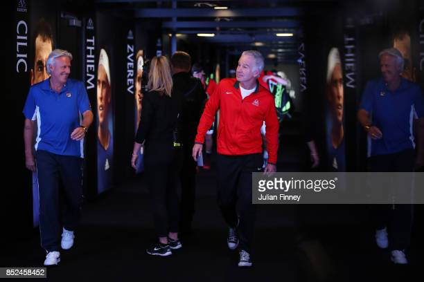 Bjorn Borg Captain of Team Europe and John Mcenroe Captain of Team World enter the arena for there doubles match against Jack Sock and Sam Querrey of...