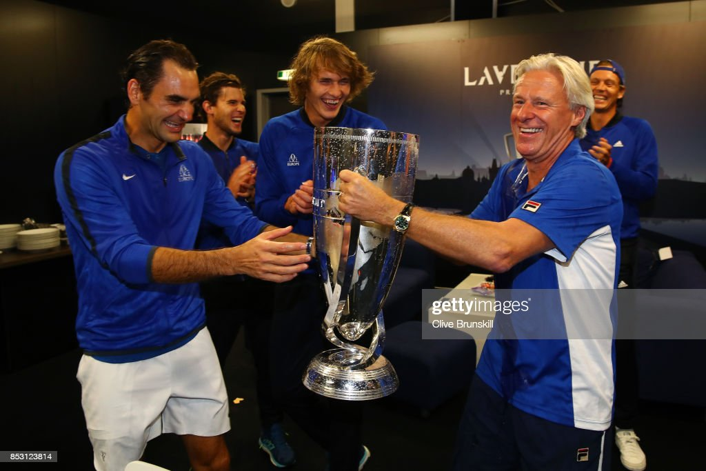 Bjorn Borg, Captain of Team Europe and Roger Federer of Team Europe drink champagne from Laver Cup trophy after winning the Laver Cup on the final day of the Laver cup on September 24, 2017 in Prague, Czech Republic. The Laver Cup consists of six European players competing against their counterparts from the rest of the World. Europe will be captained by Bjorn Borg and John McEnroe will captain the Rest of the World team. The event runs from 22-24 September.