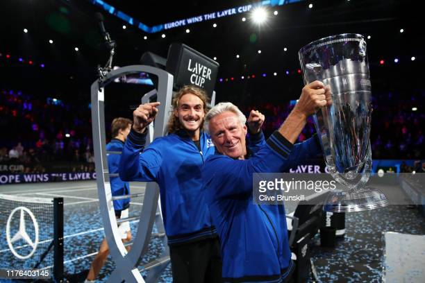 Bjorn Borg, Captain of Team Europe celebrates with the Laver Cup trophy after winning the Laver Cup during Day Three of the Laver Cup 2019 at Palexpo...