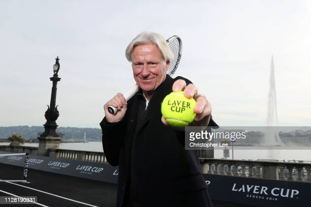 Bjorn Borg, Captain of Team Europe poses for a photo on the black court at La Rotonde ahead of The Laver Cup Press Conference on February 08, 2019 in...