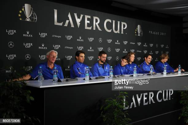 Bjorn Borg Captain of Team Europe Rafael Nadal Marin Cilic Dominic Thiem Tomas Berdych Roger Federer and Alexander Zverev of Team Europe attend a...