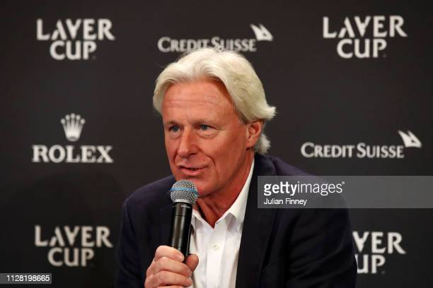 Bjorn Borg, Captain of Team Europe speaks during The Laver Cup Press Conference at Palais Eynard on February 08, 2019 in Geneva, Switzerland.