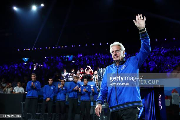 Bjorn Borg, Captain of Team Europe waves to fans as he is introduced during Day One of the Laver Cup 2019 at Palexpo on September 20, 2019 in Geneva,...