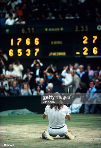 Bjorn Borg celebrates after winning his fifth consecutive Wimbledon singles title in 1980