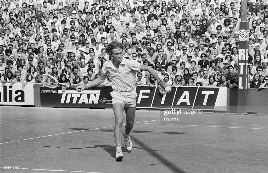Bjorn Borg from Sweden during the 1974 Roland Garros French Open.