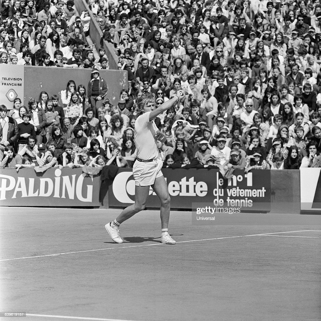 Bjorn Borg from Sweden during the 1975 Roland Garros French Open.
