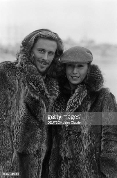 Bjorn Borg In Sweden Stockholm janvier 1979 Promenade dans les rues enneigées de Stockholm pour le tennisman Bjorn BORG et sa fiancée Mariana...