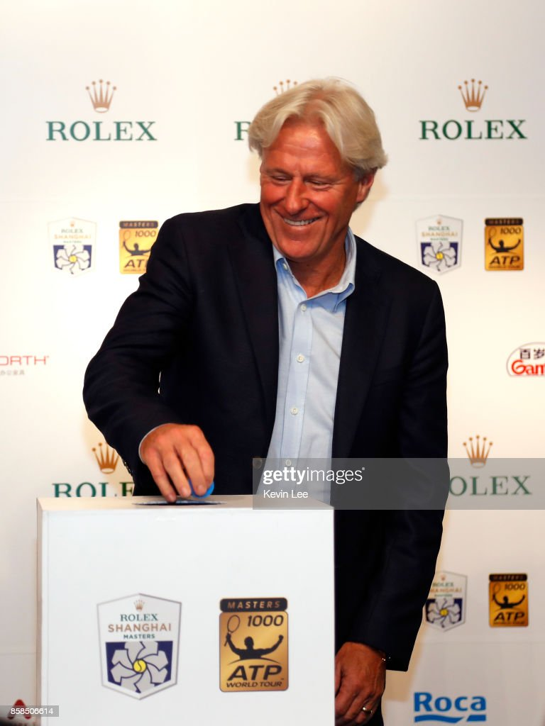 Bjorn Borg make a draw at the 2017 Shanghai Rolex Masters Main Draw ceremony on October 7, 2017 in Shanghai, China.
