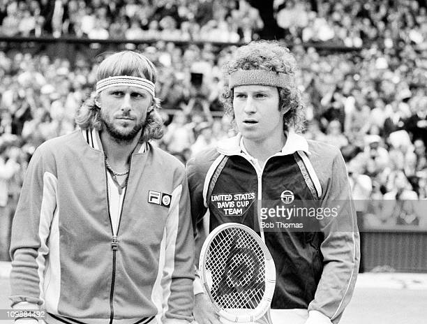 Bjorn Borg of Sweden and John McEnroe of the United States stand together prior to competing in the Men's Singles Final at the Wimbledon Lawn Tennis...