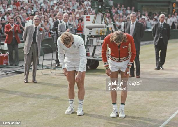 Bjorn Borg of Sweden and Roscoe Tanner bow to the Duke and Duchess of Kent following their Men's Singles Final match at the Wimbledon Lawn Tennis...