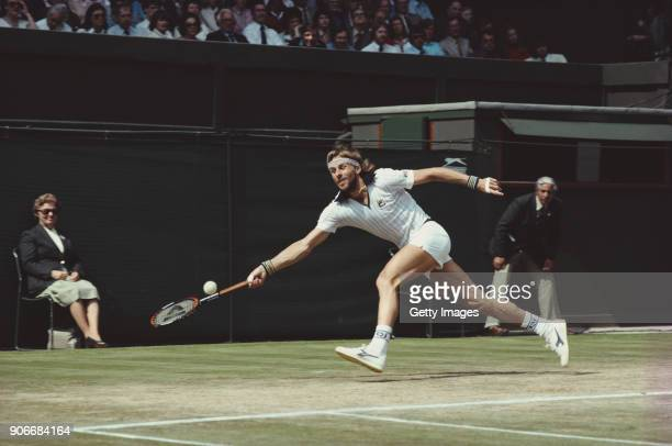 Bjorn Borg of Sweden in action during a match during the 1981 Wimbledon Grand Slam tournament on July 11981 in London England