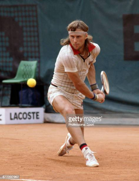 Bjorn Borg of Sweden in action during the French Open Tennis Championships at Roland Garros Stadium in Paris, circa May 1979. Borg defeated Victor...