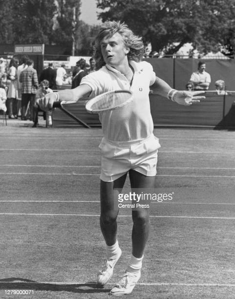 Bjorn Borg of Sweden makes a backhand return against Bob McKinley during their Men's Singles Quarter Final match at the Kent Tennis Championships on...