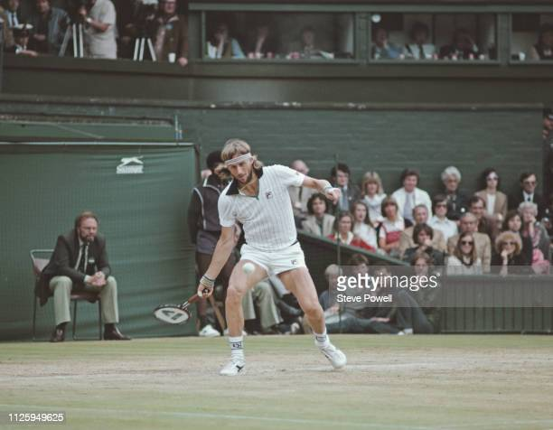 Bjorn Borg of Sweden plays a forehand return to John McEnroe during their Men's Singles Final match at the Wimbledon Lawn Tennis Championship on 4...