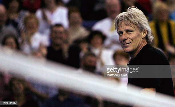 Bjorn Borg of Sweden plays against John McEnroe of the United States during the second day of the BlackRock Tour of Champions at the Odyssey Arena...
