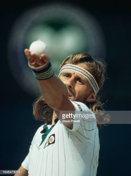 Bjorn Borg of Sweden prepares to serve against John McEnroe during their Men's Singles Final match at the Wimbledon Lawn Tennis Championship on 6...