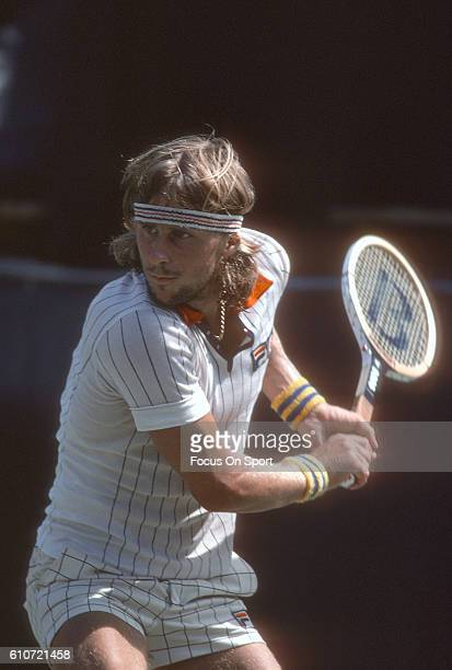 Bjorn Borg of Sweden returns a shot during a match at the Men's 1978 US Open Tennis Championships circa 1978 at the National Tennis Center in the...
