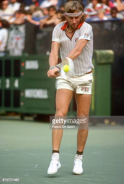 Bjorn Borg of Sweden returns a shot during a match at the Men's 1979 US Open Tennis Championships circa 1979 at the National Tennis Center in the...
