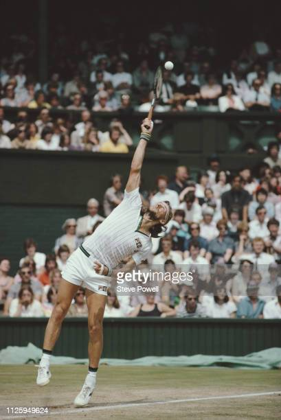 Bjorn Borg of Sweden serves to John McEnroe during their Men's Singles Final match at the Wimbledon Lawn Tennis Championship on 6 July 1980 at the...