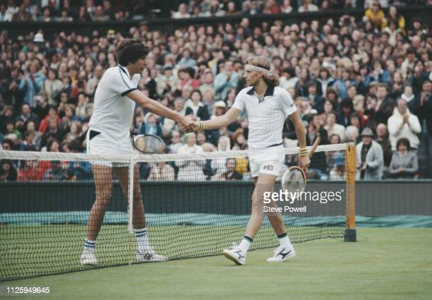 Bjorn Borg of Sweden shakes hands with Victor Amaya following their Men's Singles first round match at the Wimbledon Lawn Tennis Championship on 26...