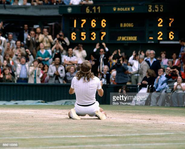 Bjorn Borg of Sweden sinks to his knees after winning the Wimbledon Lawn Tennis Championships held at the All England Club in London England in July...