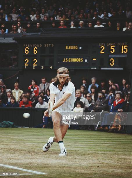 Bjorn Borg of the Sweden during the Men's Singles Final match against Jimmy Connors of the United States at the Wimbledon Lawn Tennis Championship on...