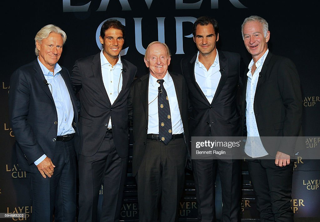 Bjorn Borg, Rafael Nadal, Rod Laver, Roger Federer,and John McEnroe attend the 2016 Laver Cup Announcement at St. Regis Hotel on August 24, 2016 in New York City.