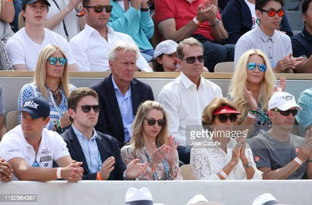 Bjorn Borg Stefan Edberg and his wife Annette Olsen Edberg attend the third round victory of Roger Federer of Switzerland during day 6 of the 2019...