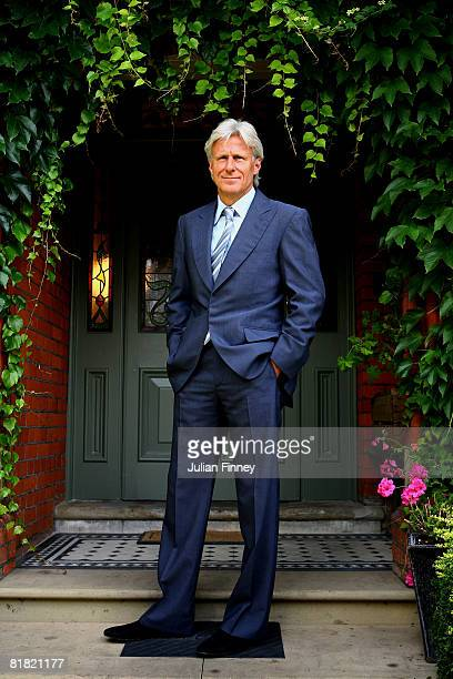 Bjorn Borg the former fivetime Wimbledon champion poses for a picture on day eleven of the Wimbledon Lawn Tennis Championships at the All England...