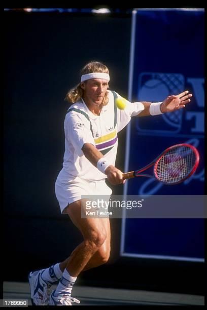 Bjorn Borg uses a backhand stroke during the Volvo Tennis Classic tournament Mandatory Credit Ken Levine /Allsport