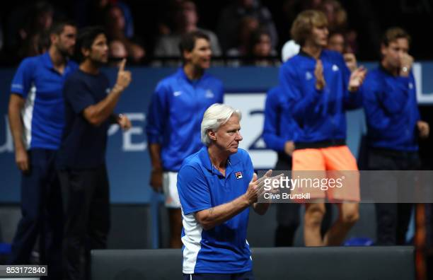 Bjorn Borg watches Roger Federer of Team Europe during his mens singles match against Nick Kyrgios of Team World on the final day of the Laver cup on...