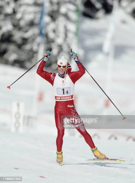 Bjorn Daehlie of Norway competes in the Men's 4 x 10 Kilometres Relay on 18th February 1992 during the XVII Olympic Winter Games at Les Saisies in...