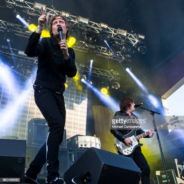 Bjorn Dixgard and CarlJohan Fogelklou of Mando Diao perform in concert at Grona Lund on May 25 2018 in Stockholm Sweden