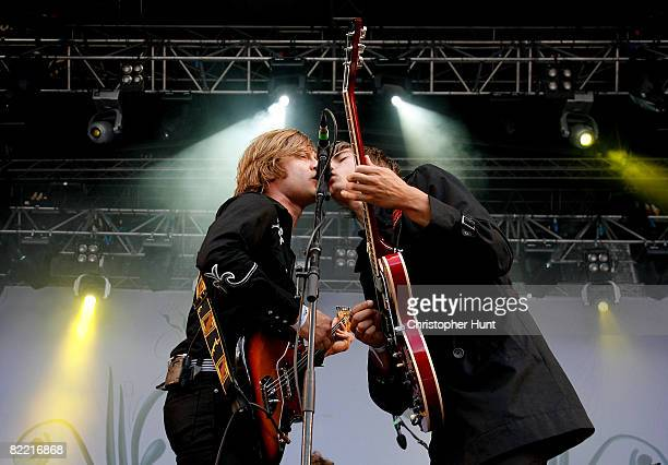 Bjorn Dixgard and Gustaf Noren of Mando Diao perform on stage during the first day of the Way Out West festival at Slottsskogen on August 8 2008 in...