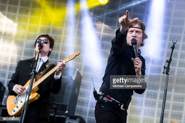 Bjorn Dixgard and Jens Siverstedt of Mando Diao perform in concert at Grona Lund on May 25 2018 in Stockholm Sweden