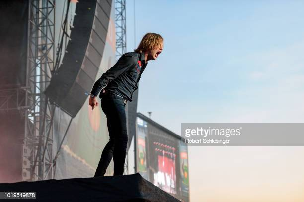 Bjorn Dixgard of Mando Diao performs live on stage during day 3 of the Highfield Festival at Stoermthaler See on August 19 2018 in Leipzig Germany