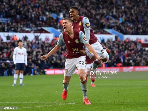 Bjorn Engels of Aston Villa celebrates after scoring his sides second goal with Ezri Konsa of Aston Villa during the Premier League match between...