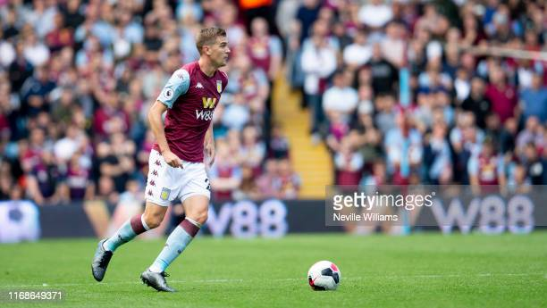 Bjorn Engels of Aston Villa during the Premier League match between Aston Villa and AFC Bournemouth at Villa Park on August 17, 2019 in Birmingham,...