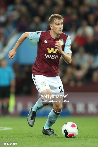 Bjorn Engels of Aston Villa during the Premier League match between Aston Villa and West Ham United at Villa Park on September 16, 2019 in...