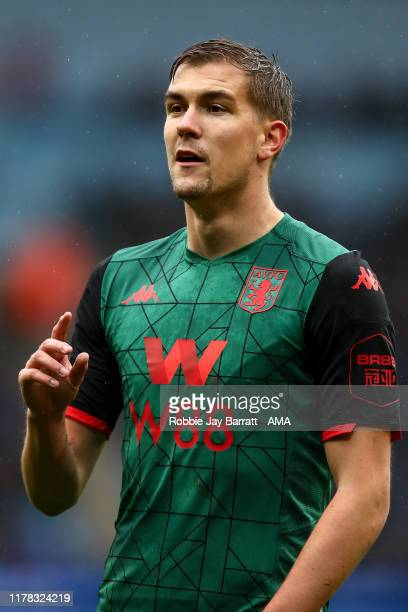 Bjorn Engels of Aston Villa during the Premier League match between Manchester City and Aston Villa at Etihad Stadium on October 26, 2019 in...