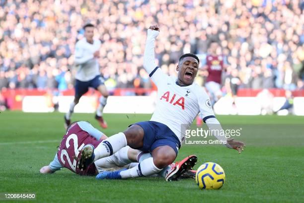 Bjorn Engels of Aston Villa fouls Steven Bergwijn of Tottenhan Hotspur leading to the awarding of Tottenham's first penalty during the Premier League...
