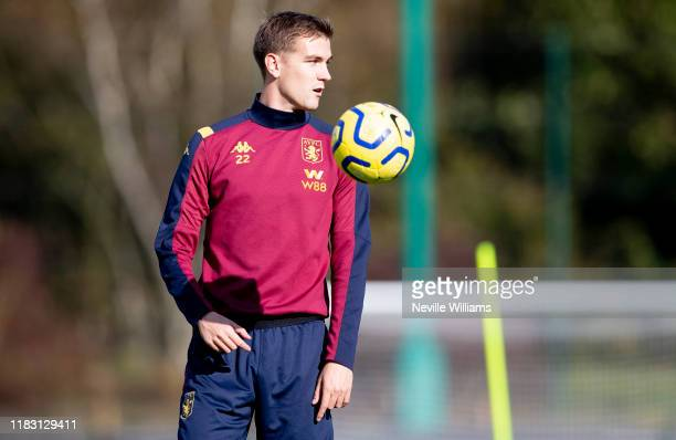Bjorn Engels of Aston Villa in action during a training session at Bodymoor Heath training ground on October 24, 2019 in Birmingham, England.