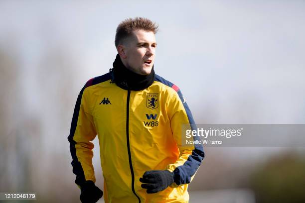 Bjorn Engels of Aston Villa in action during a training session at Bodymoor Heath training ground on March 12, 2020 in Birmingham, England.