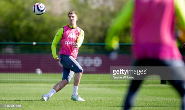 Bjorn Engels of Aston Villa in action during a training session at Bodymoor Heath training ground on April 02, 2021 in Birmingham, England.