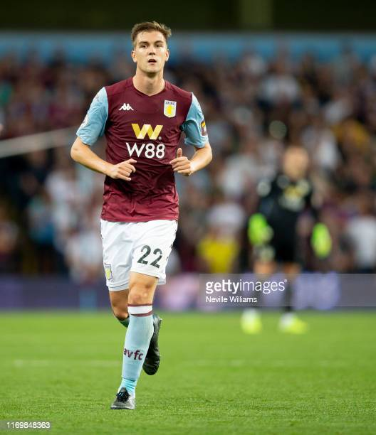 Bjorn Engels of Aston Villa in action during the Premier League match between Aston Villa and Everton FC at Villa Park on August 23, 2019 in...